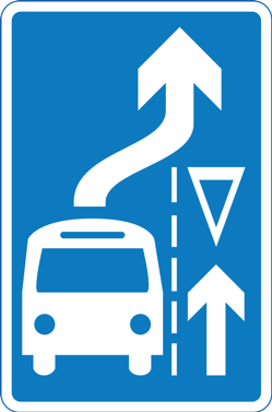 The additional small triangle (left) means drivers must give way to buses exiting the bus bay.